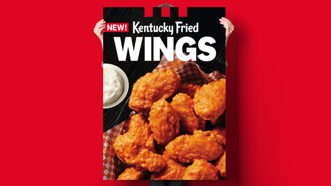 Image of a poster of KFC Buffalo wings with range dip