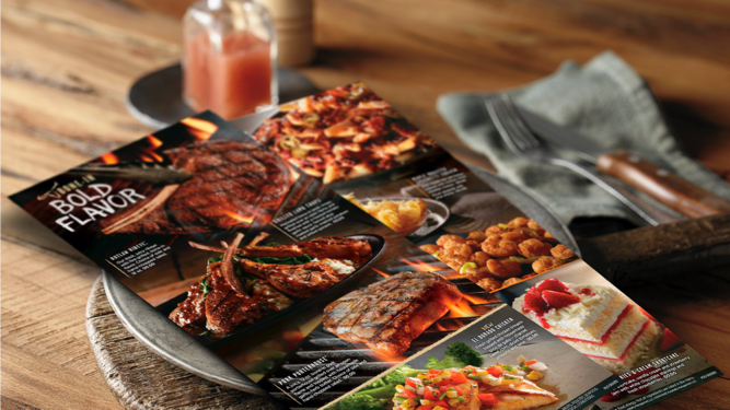 Longhorn Steakhouse menu sitting on a plate on a table