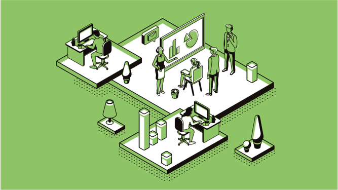 Illustration of people in an office having a meeting on a green background