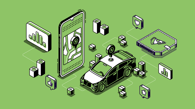 Ink illustration of a white car, computer, and other tech related items floating on a green backround