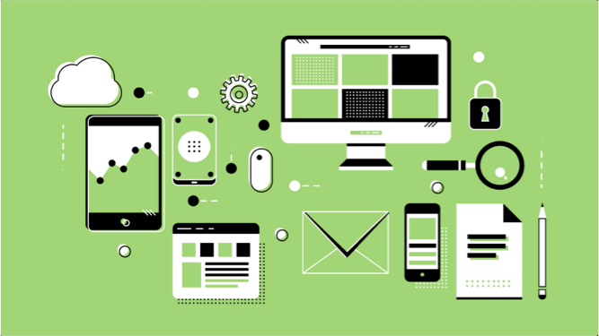 Drawings of a phone, monitor and other devices