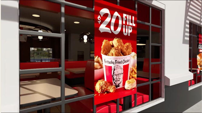 Image of a poster on the outside of a KFC with $20 large bucket fill up, made in 3D