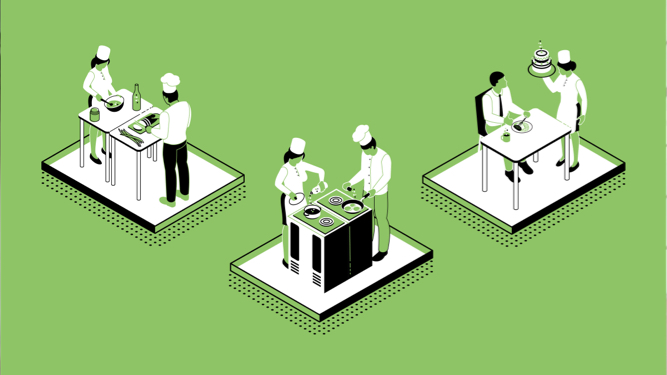 Green background with an illustration of chefs cooking and serving food