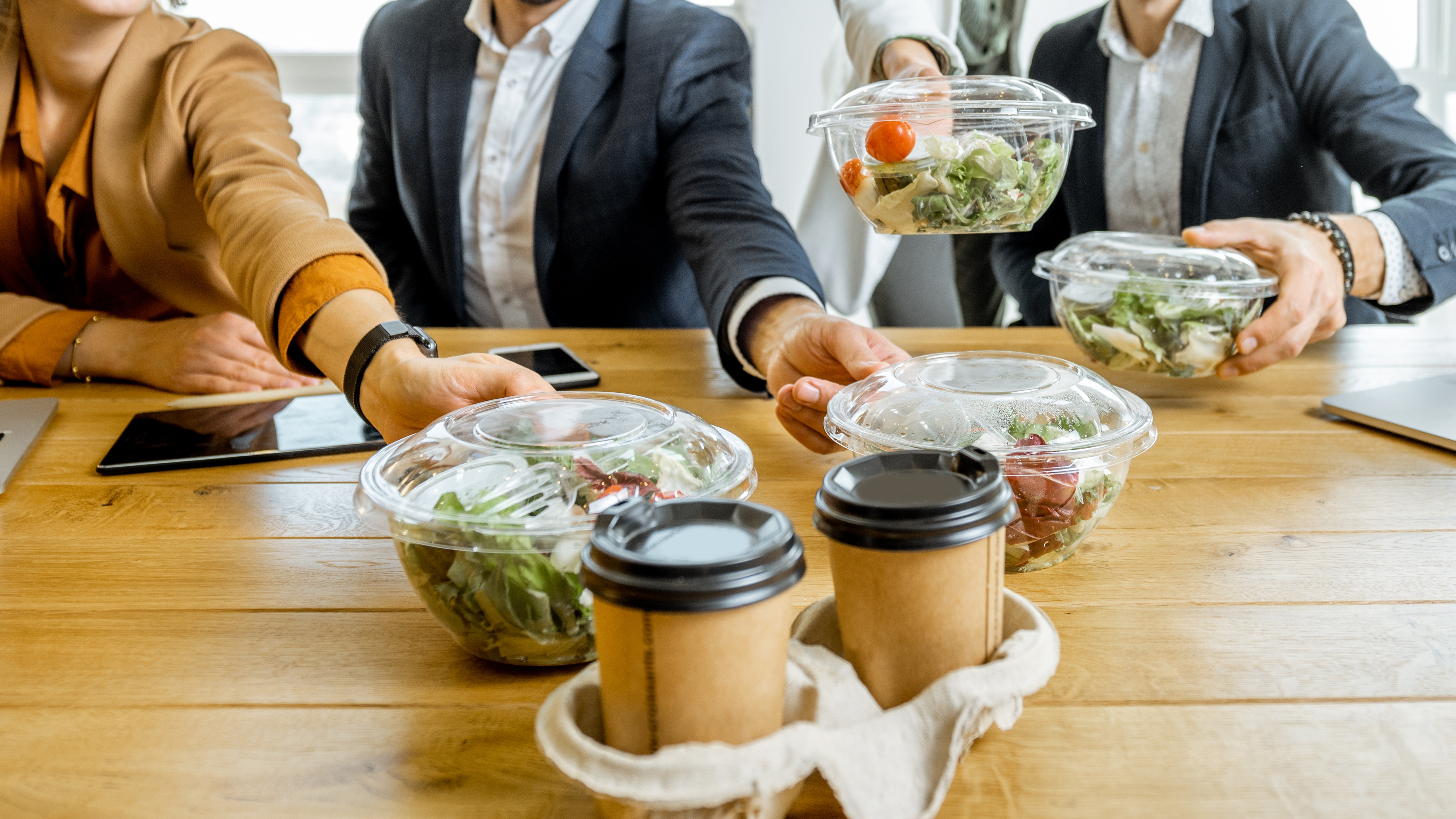 Take-Out and Coffee in workplace environment